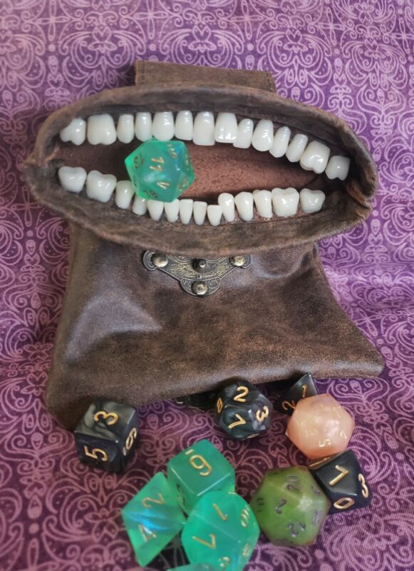 Bag of Devouring monster teeth leather pouch renaissance medieval dice coin D&D