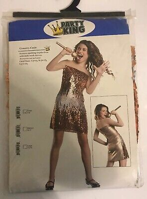 COUNTRY CUTIE M 8-10 Girl's Sequin Pop Star - Miley Cyrus Kostüm