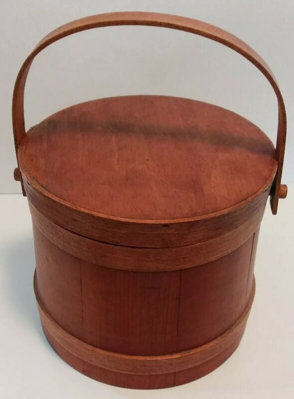"Primitive Wooden Firkin Sewing/Sugar Bucket with Lid Handle 7.25"" h x 8.75"" w"