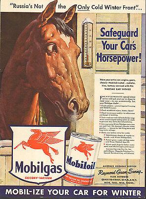 1942 WW2 Ad MOBILGAS MOBIL OIL Save your Car's Horsepower! 12217