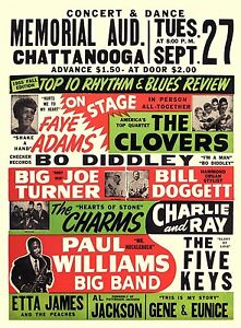 Vintage 1950's Roll Music Concert Silk Cloth Poster17 x13