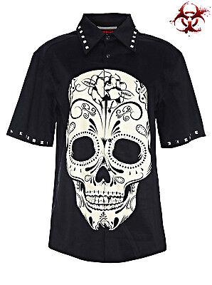JAWBREAKER DAY OF THE DEAD TATTOO SKULL GOTHIC PUNK ROCK ROCKABILLY SHIRT BIKER Casual Button-Down Shirts