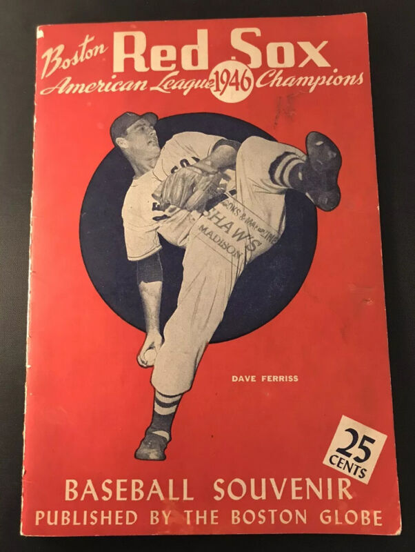 1946 Boston Globe Red Sox Souvenir Book AL Champions Ted Williams With Poster Ex