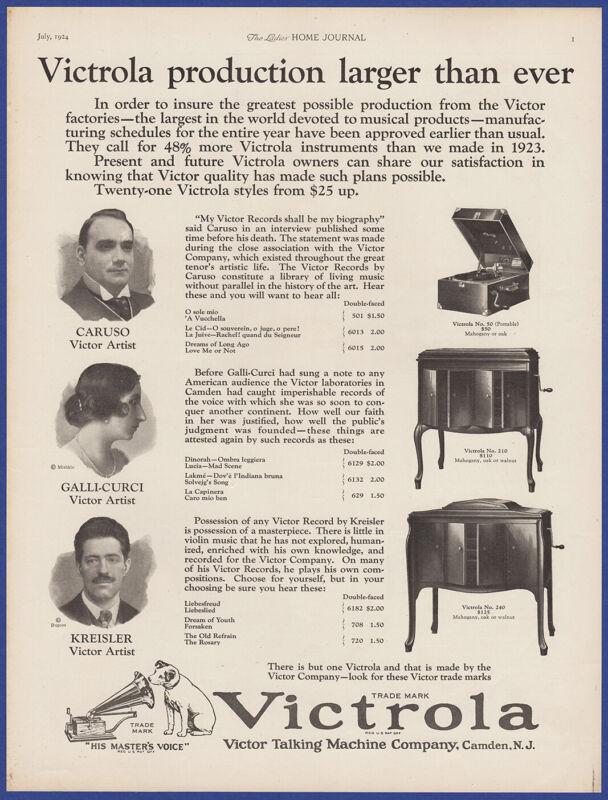 Vintage 1924 VICTROLA Victor Model 50 Portable 210 240 Phonograph 20