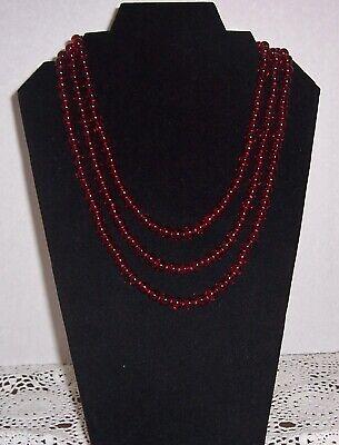 JOAN RIVERS  60''   LIGHT RUBY CZECH GLASS BEADS NECKLACE..](Light Necklaces)