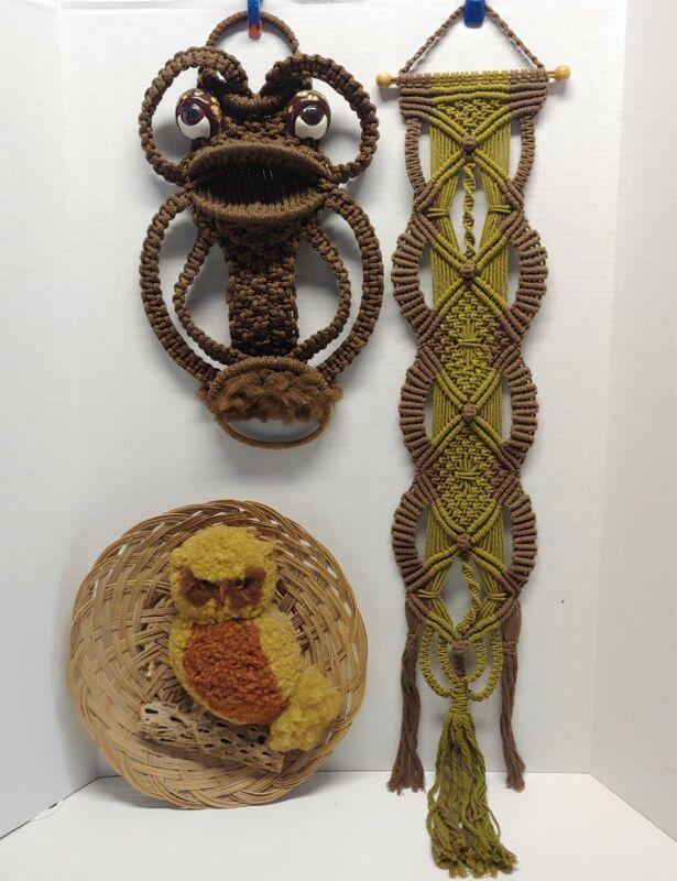 Vintage Boho Owl Rattan Basket Frog Wall Hangings Decor Bohemian Art Macrame
