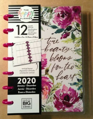 """NEW 2020 the Happy Planner """"SPRING FLORAL"""" MINI Planner 12 Months - VERTICAL"""