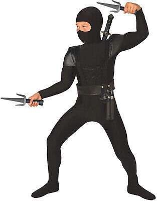 Costume For Boy (Boys Black Ninja Costume Accessories 8 Piece Kids Samurai Warrior Fancy)