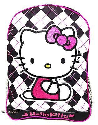 HELLO KITTY BACKPACK! BLACK & WHITE ARGYLE LARGE SCHOOL BAG SANRIO 16