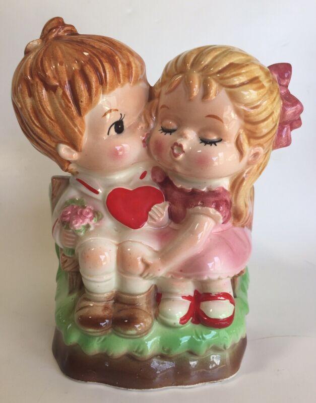Vintage Lefton Kissing Couple Valentine Planter Vase
