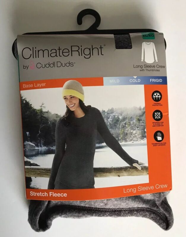 ClimateRight By Cuddl Duds Stretch Fleece Long Sleeve Crew Gray X-Large