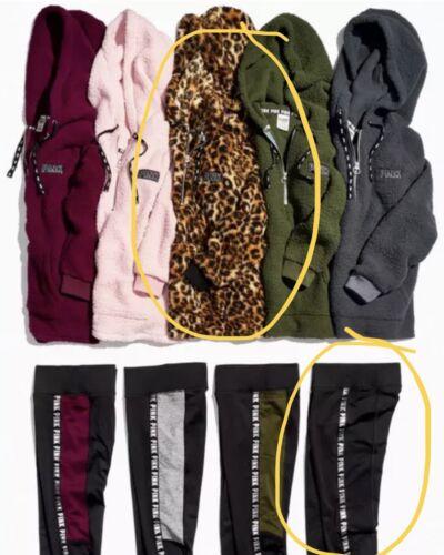 Victoria's Secret PINK Leopard Sherpa Hoodie Black Fleece Li