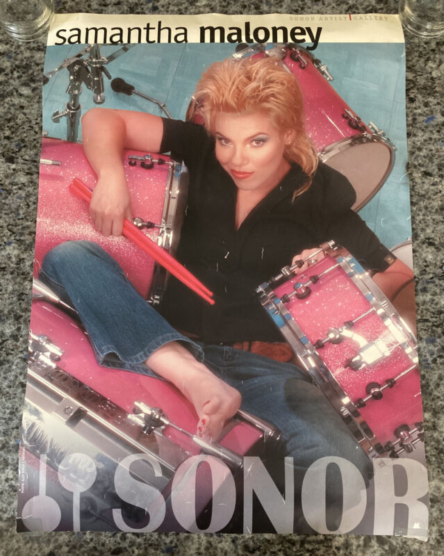 """Samantha Maloney 16.5 X 23.5"""" Sonor Drums Promo Poster Hole Band Drummer"""