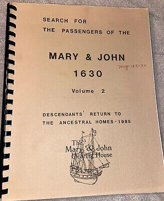 Search for the Passengers of the Mary & John 1630 Vol 2 Descendants Return vg PB