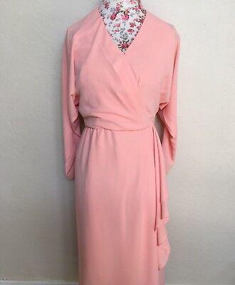 Eztevez True vintage 1960s Wrap Around Surplice Dress Pink Coral party Chiffon