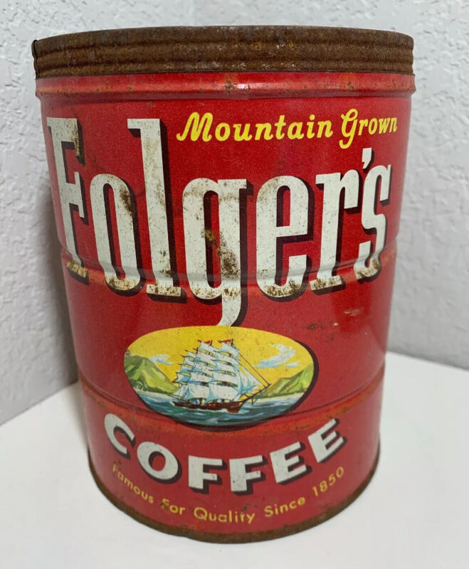 Vintage FOLGERS Coffee Can 2 lb TIN Ship Sailing Mountain Grown 1959 No Lid