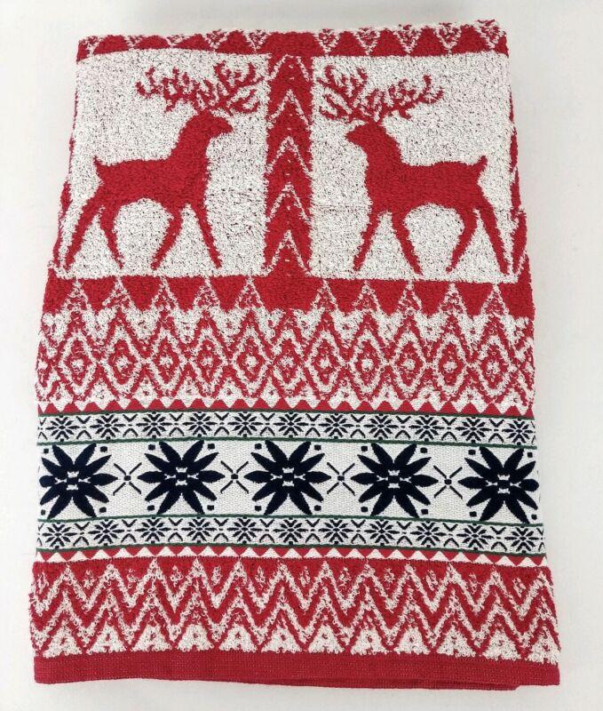 "Santens Christmas Deer Bath Towel 48"" x 25"" Red Nordic Holiday Winter"
