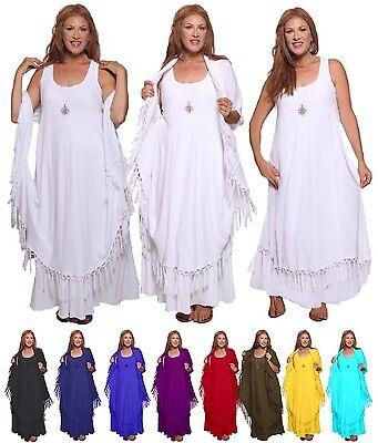 Boho Moroccan Magic Maxi Dress- Layered Fringed Rayon Crinkle- V808 LotusTaders](Magic Fairy Dresses)