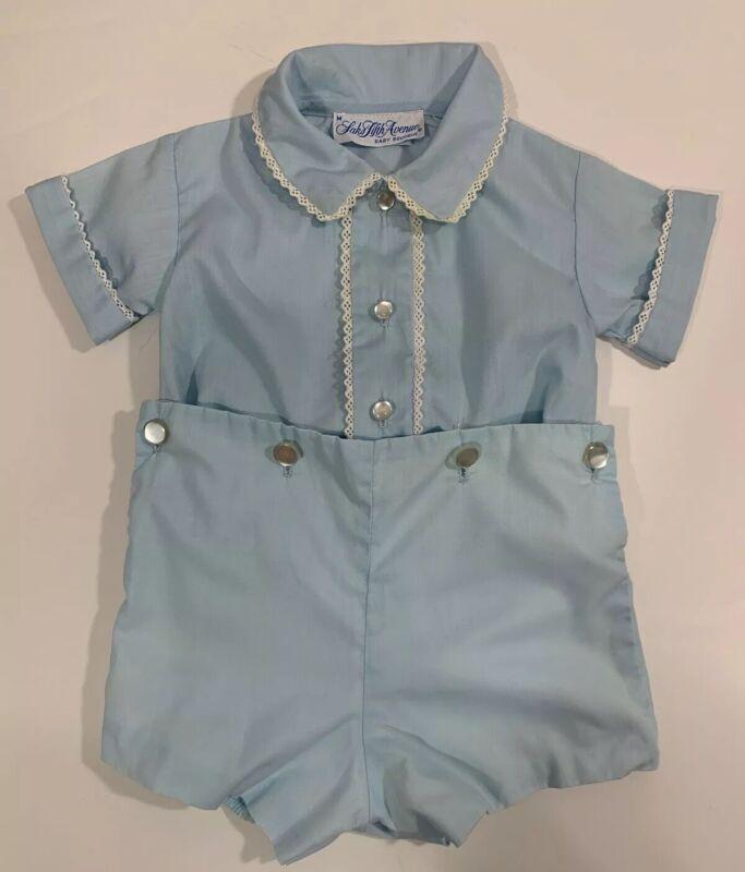 Vintage Saks Fifth Avenue Baby Boutique Blue 2 Piece Outfit Size M  6-12 Months