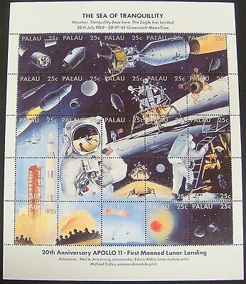 Palau Space Stamps Sheet Sea Of Tranquility Neil Armstrong Apollo 11 Aldrin
