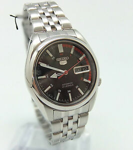 Mens-Seiko-5-Auto-wrist-watch-see-through-back-box-paperwork-new-condition