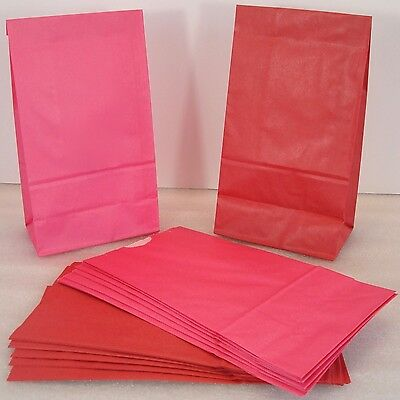 24 Red and Pink Paper Lunch Bags for Party Favors or Treats or Lunch (Red Treat Bags)
