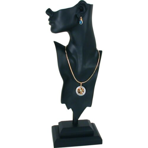 """Black Mannequin Bust Necklace Pendant Earring Jewelry Display 19 1/2"""""""