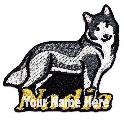 Husky Siberiano Perro Custom Hierro-Sobre Parche con Nombre Personalizado Gratis