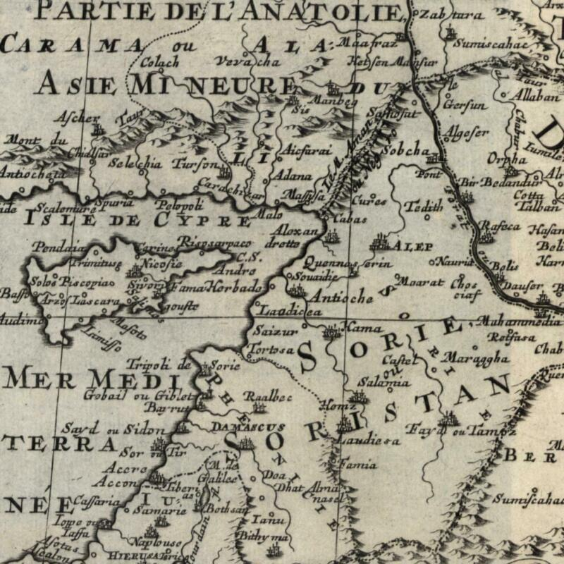 Middle East Cyprus Syria Holy Land Diarbeck Euphrates Arabia 1669 Sanson map