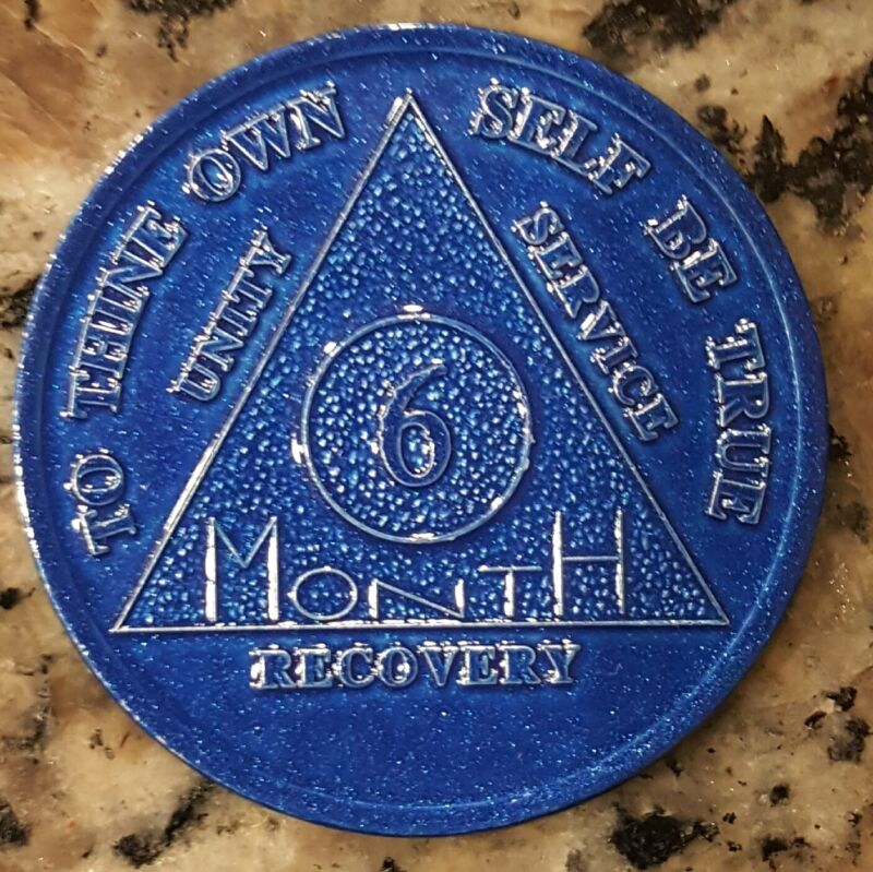 Alcoholics Anonymous AA 6 Month Aluminum Medallion Coin Chip Token Sober Sobriet