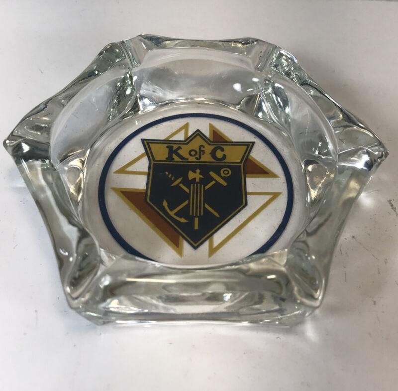 "Vintage Knights of Columbus K of C Hexagon Glass Ashtray 4.5"""