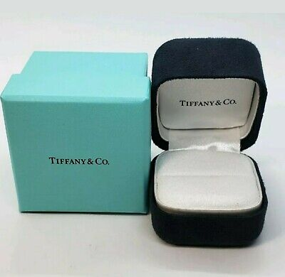 Tiffany & Co. Black suede Presentation Ring Box White background (free (Tiffany And Co Shipping)