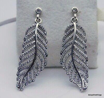 AUTHENTIC PANDORA EARRINGS LIGHT AS A FEATHER #290584CZ TAGS/HINGE BOX