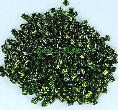 11/0 TOHO Triangle Glass Seed Beads #37- Silver-Lined Olivine 10 grams
