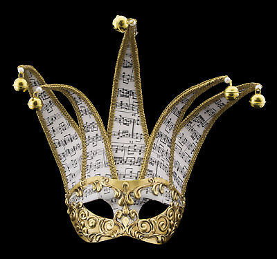 Mask from Venice Colombine Jolly in 5 Spikes Musica Golden Paper Mache 22377