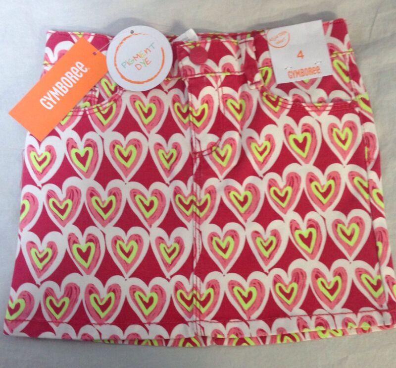 Gymboree Scribble Heart Skirt Valentine's Day Girls Size 4 Pink Yellow Play By