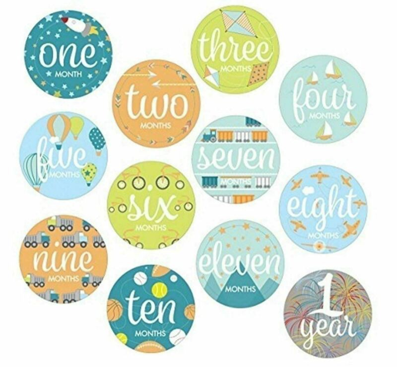 Infant Monthly Belly Stickers Baby Boys Milestone Photo First Year Set
