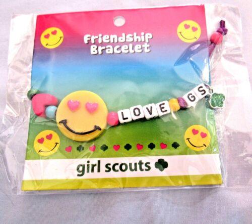 "BRACELET Girl Scout Friendship Beaded ""LOVE GS"" NEW on Card LEADER CHRISTMAS"