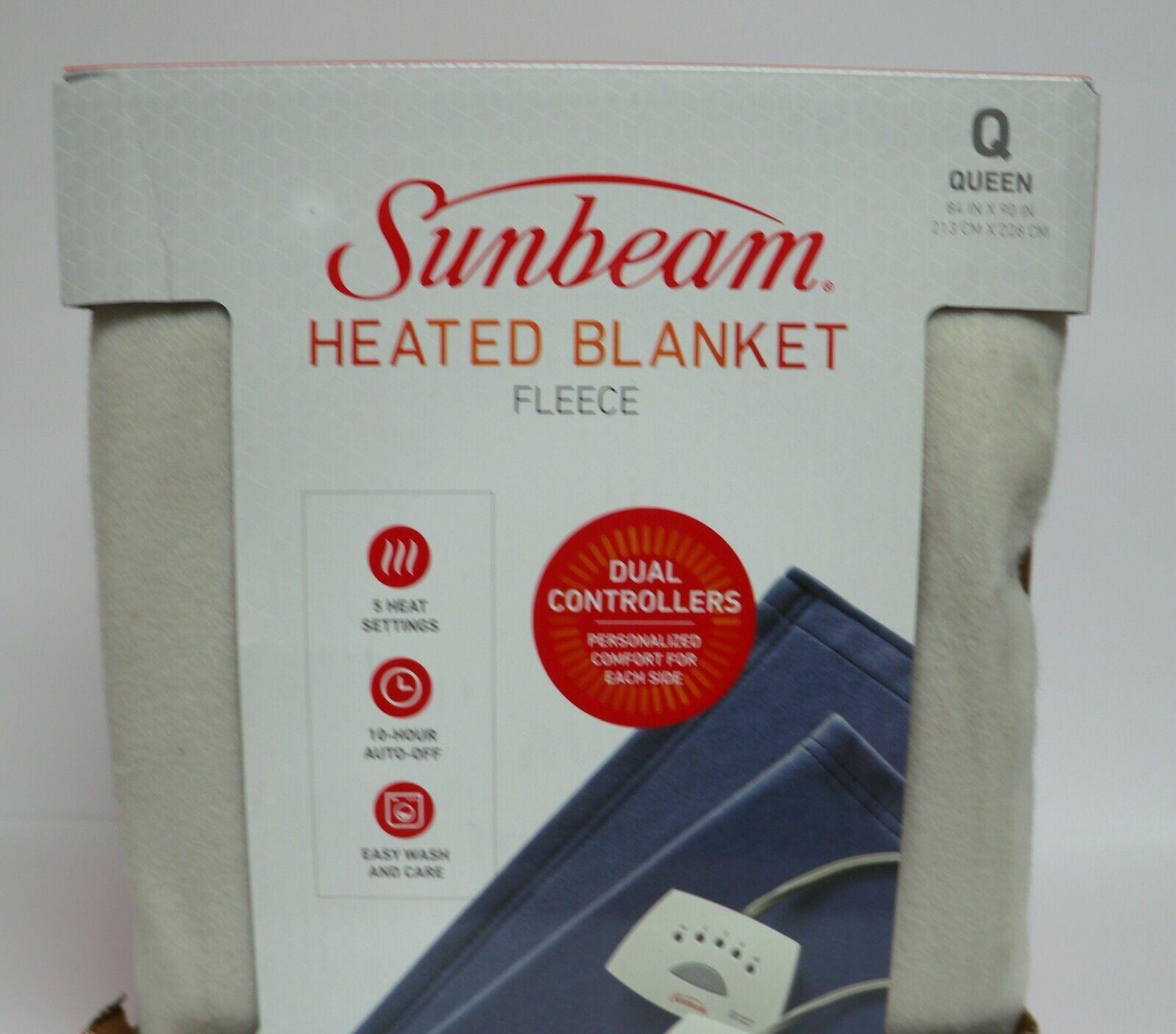 Sunbeam Queen Electric Heated Fleece Blanket, 5 Heat, Auto O
