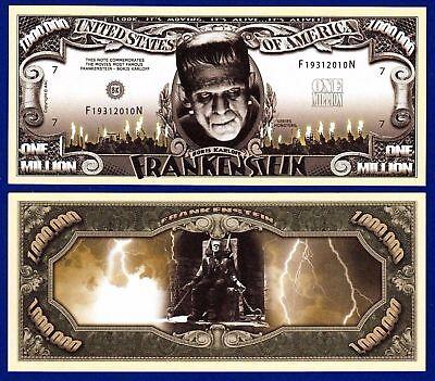 2-Frankenstein Monster Halloween Dollar Bills -Novelty -FAKE-Money-R2](Fake Halloween Money)