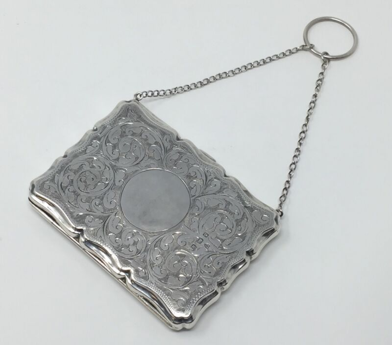 Antique Victorian STERLING PURSE Card Money case w/ Chain and ring WB Ltd. 1909