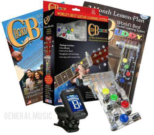 CHORD BUDDY Guitar Learning System Teaching Practrice Aid + APP Book Lessons
