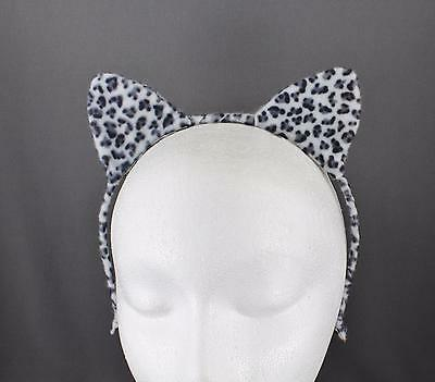 White Black cat ears headband cheetah soft faux fur furry kitten hair band