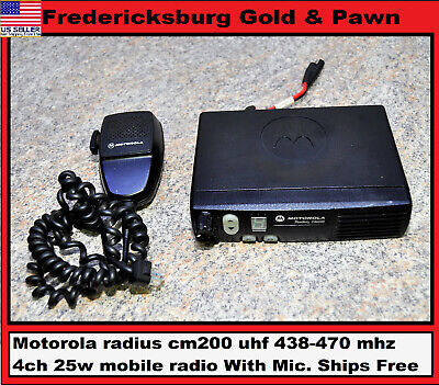 Motorola Radius Cm200 Uhf 438-470 Mhz 4ch 25w Mobile Radio With Mic. Ships Free