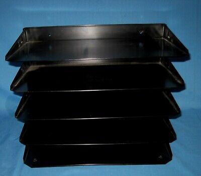Black Industrial Metal Legal Paper File Sorter Desk Organizer 5 Trays