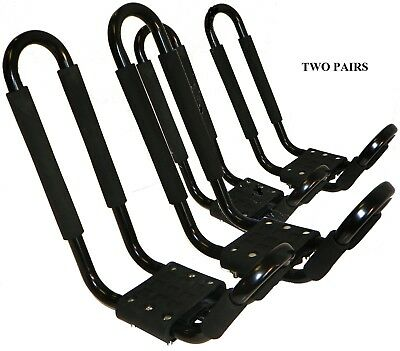 TWO PAIRS J RACKS CAR ROOF TOP CARRIERS W/STRAPS+ROPES - FOR 2 KAYAKS - NEW!