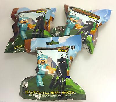 3 X Minecraft Cintres Séries 2 Collection Sacs Opaques Jouet Porte-Clés