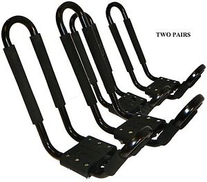 2-PAIRS-J-RACK-CAR-ROOF-TOP-CARRIERS-FOR-KAYAKS-SUP-BOARDS-FREE-SHIPPING