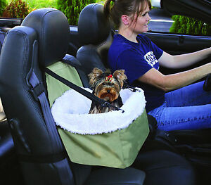 Pet Booster Seat, Dog and Cat Seat For Car With Leash & Faux Sheepskin Lining