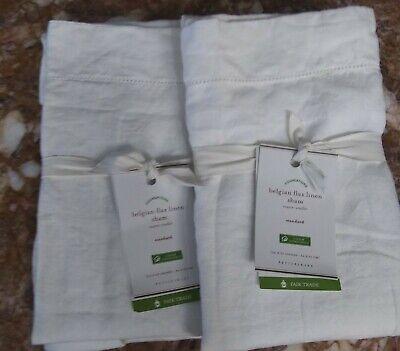 Pottery Barn Set: 2 Belgian Flax Linen Shams, Standard Size, White